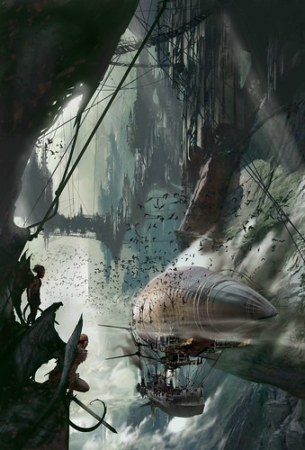 Cover art for MAINSPRING, (c) 2006 Stephan Martiniere, reproduced with permission of the artist and Tor Books