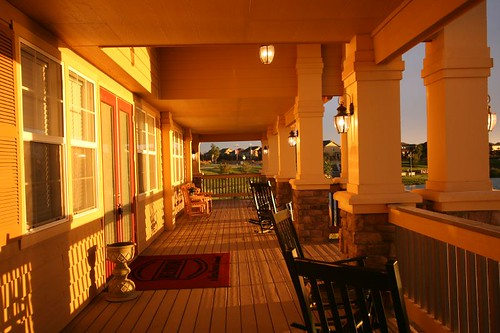 sunset reflecting on the porch