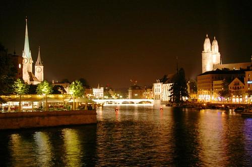 Zurich City Night Into Zürich's Old City