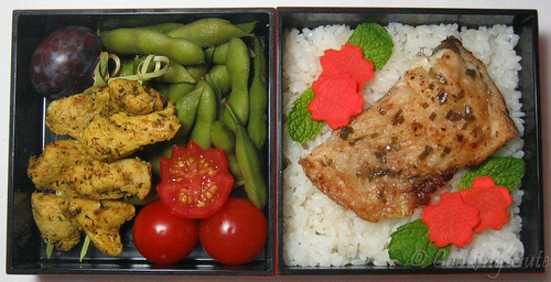 [bento with chicken skewers, edamame, tomato, rice, trout]