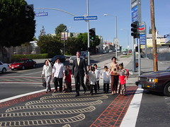 Crossing at the stamped crosswalks that now adorn the entrance of Historic Filipinotown