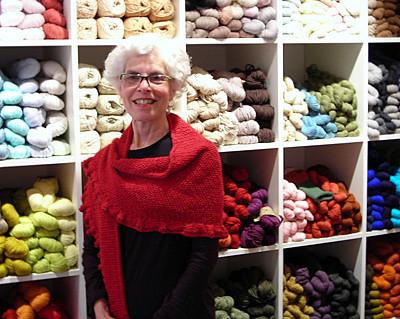 Joan's knitted babushka in Blue Sky Alpaca's Alpaca Silk yarn