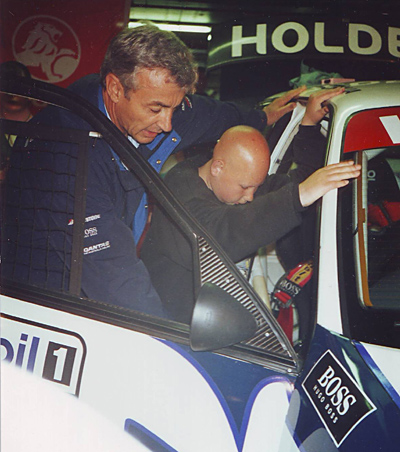 Damian getting into the hot seat of Peter Brock's Holden, November 1996
