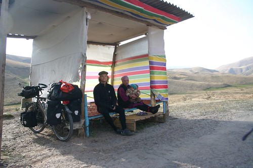 Me and the woman Gulbarchyn who sells fermented mare's milk at the 2408m pass...