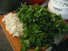 chopped radish greens