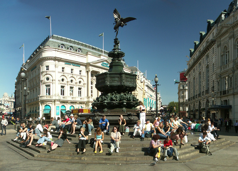 Statue of Eros (or Angel of Christian Charity) in Piccadilly Circus, London