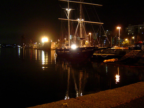Night wharf, with ship!