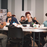 Actors Kareem Bandealy, Matt Hawkins, Sydney Germaine and Julian Parker at the first rehearsal for JULIUS CAESAR at Writers Theatre. Photo by Joe Mazza—brave lux.