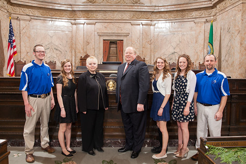 Reps. Joe Schmick and Susan Fagan with members and coaches of the Colton Wildcats Girls Basketball Team.