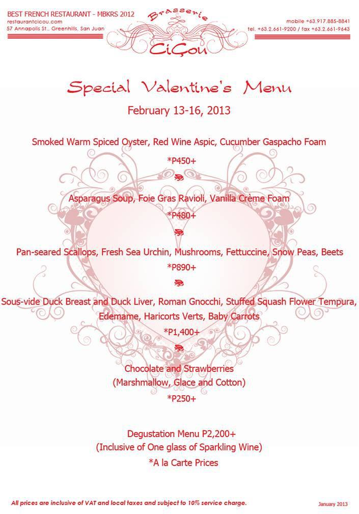 CiCou's Set Valentine's Day Menu