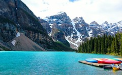 Canoes at Moraine Lake photo by Cole Chase Photography