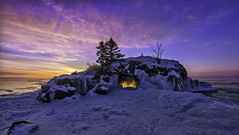hollow rock sunrise - lake superior - north shore minnesota photo by Dan Anderson.