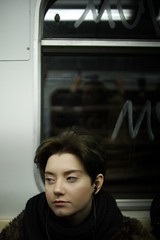 an unknown girl in the metro... photo by f_lynx