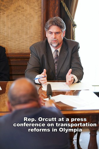 Rep. Orcutt speaks at a press conference on transportation reforms