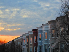 rowhouses with sunset windows, Hampden photo by Zombie37