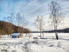 Frozen lake covered with snow. photo by Bessula