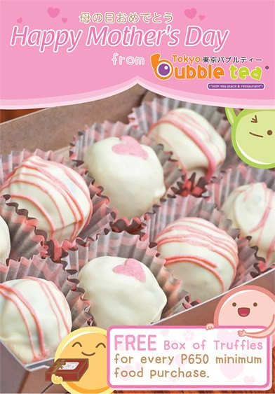 Bubble Tea restaurant - Free box of truffles for Php 650 purchase