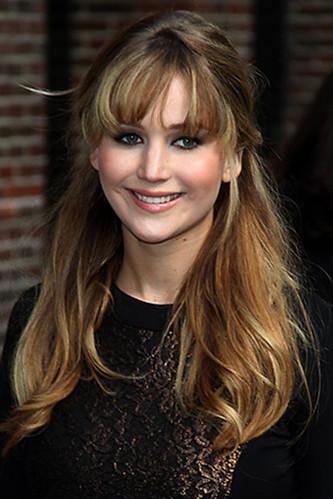 Jennifer Lawrence half up hair