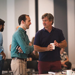 Associate Producer and Casting Director Stephen Schellhardt and Actor Thomas Vincent Kelly at the first rehearsal for JULIUS CAESAR at Writers Theatre. Photo by Joe Mazza—brave lux.