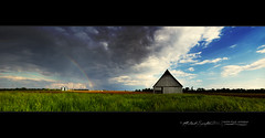 Thunderstorm outflow, rainbow, and barn panorama (Explored - thank you!) photo by StormLoverSwin93 | Into the Storm