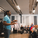 Movement Director Breon Arzell presents at the first rehearsal for JULIUS CAESAR at Writers Theatre. Photo by Joe Mazza—brave lux.