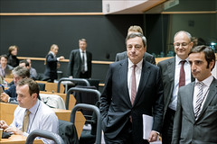 ECB President Draghi met MEPs to discuss financial market issues