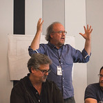 The Sound Design team of Rob Milburn & Michael Bodeen with Properties Master Scott Dickens at the first rehearsal for JULIUS CAESAR at Writers Theatre. Photo by Joe Mazza—brave lux.