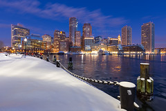 Downtown Boston Skyline over Icy Harbor and Snowy Fan Pier Harborwalk at Dawn with Nautical Chain, South Boston Massachusetts photo by Greg DuBois Photography