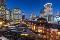 city twilight at tokyo station photo by tuanland