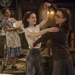 Kristina Valada-Viars (Edith Frank), Sophie Thatcher (Anne Frank) and Lila Morse (Margot Frank) in THE DIARY OF ANNE FRANK at Writers Theatre. Photo by Michael Brosilow.
