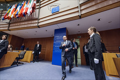 EP president Martin Schulz enters the plenary chamber of Brussels