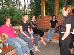 Justina Robson, Kia Chapman, Maija, Ann VanderMeer, and Cheryl Morgan relaxing after the sauna
