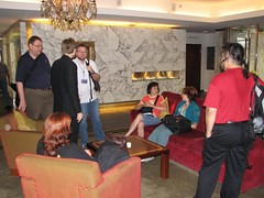 Waiting in the hotel lobby for the tour to start