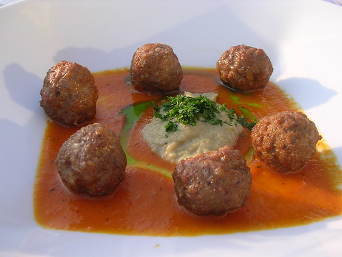 Meatballs with Roasted Eggplant and Smoked Yellow Tomato Puree