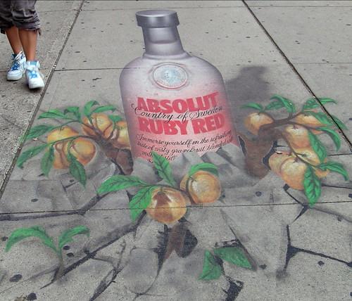 ad on sidewalk