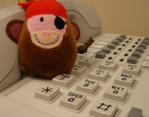 Pirate Monkey Is On the Phone