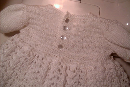 Buttons added to Christening Gown