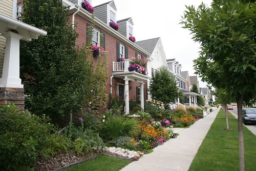 Homes line the street in Stapleton a Denver Colorado Neighborhood.