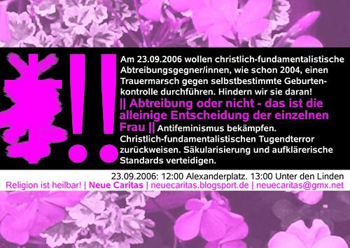 Kleber gegen eine Demonstration von sogenannten LebensschützerInnen am 23.09.2006 in Berlin