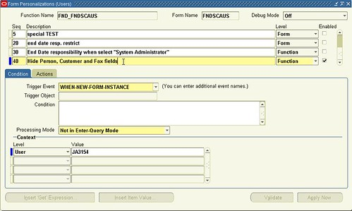Oracle Form Personalization (Users)