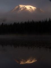 Mount Rainier in Fog at Reflection Lake, Sunrise