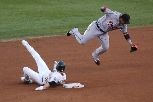Jason Kendall breaks up a double play