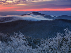 Snow Covered Sunrise over Black Mountain photo by Jared Kay