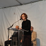 Studio Gang Architects Founder and Design Principal Jeanne Gang speaks at the ceremonial groundbreaking event. Photo by Abby McKenna