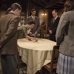 Lila Morse (Margot Frank), Antonio Zhiurinskas (Peter), Kristina Valada-Viars (Edith Frank), Sean Fortunato (Otto Frank), Lance Baker (Mr. van Daan), Sophie Thatcher (Anne Frank) and Kevin Gudahl (Mr. Dussel) in THE DIARY OF ANNE FRANK at Writers Theatre.