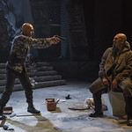 Kareem Bandealy (Brutus) and Madrid St. Angelo (Caesar) in JULIUS CAESAR at Writers Theatre. Photo by Michael Brosilow.
