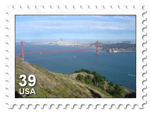 Golden Gate Bridge stampified