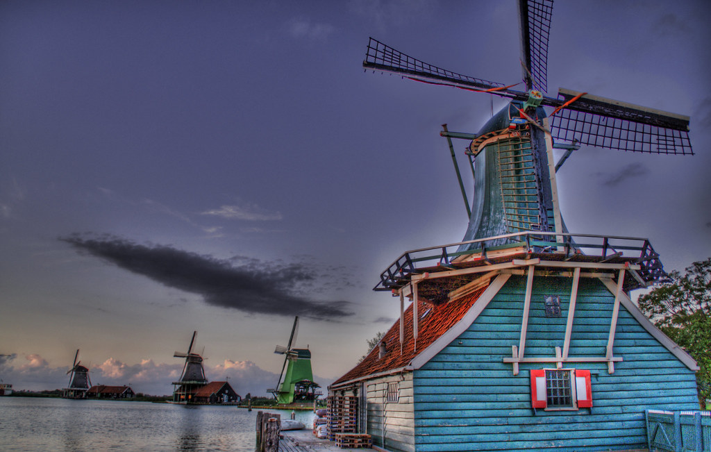 The Windmills of Holland at Dusk
