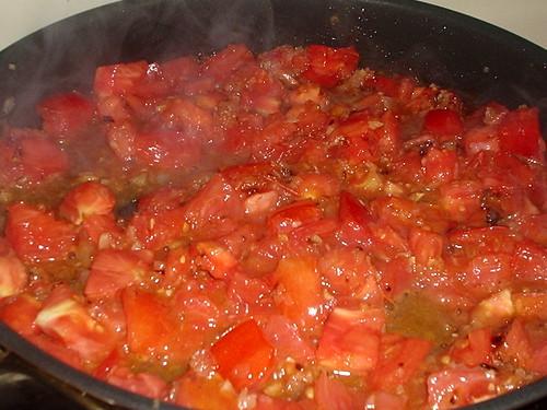 Garden tomatoes simmering