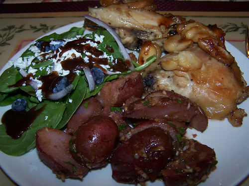 Chicken with 40 Cloves of Garlic, Balsamic Potatoes with Shallots, and Salad